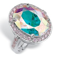 13.57 TCW Oval-Cut Aurora Borealis Cubic Zirconia Cocktail Ring in Sterling Silver