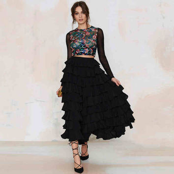 [TWOTWINSTYLE] 2016 spring fashion cake cascading flounced skirts high waist elegant wild matching plus size women XXL