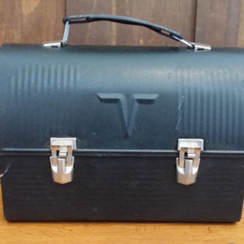Vintage Black Industrial Metal Domed Thermos Lunch Box