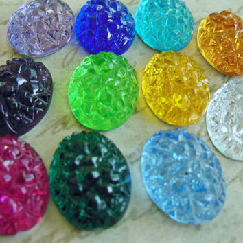 Retro plastic cabs (10) texture bumpy silver flatback oval sugar stone 18 x 13mm red pink blue green yellow purple Choose your Colors (10)