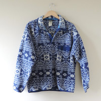 Vintage Patagonia Blue Tribal Aztec Print Pullover Fleece Jacket // Size MEDIUM