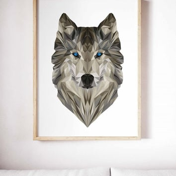 Geometric Wolf Painting Poster Art Print Canvas Print Wall Decor Canvas Poster Print Digital Print Designer Art Painting Wall Art Home Gift