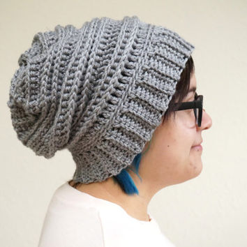 Shop Crochet Ribbed Slouchy Beanie on Wanelo f8e4fdcf0b4