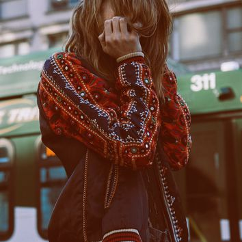 Free People New Romantics Embellished Baseball Jacket