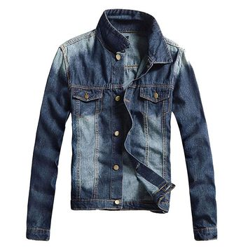 Mens Casual Denim Jacket Slim Jean Stone Washed Lapel Slim Fit Denim Jean Bomber Jacket