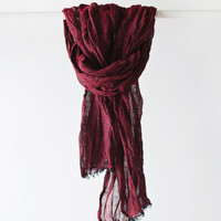 Linen Scarf / Red Colour/ / Unisex Scarf