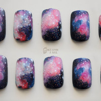 Galaxy Hand Painted Fake Nails