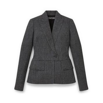 WOOL FITTED PEAK LAPEL JACKET