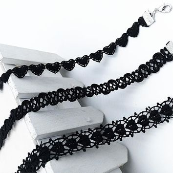 80's Goth Black Polyester Choker Necklace