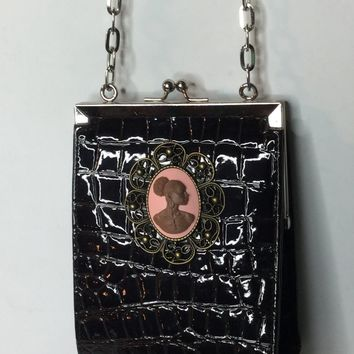 Patent Leather Cameo vintage purse/Free Shipping
