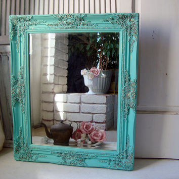 Aqua Vintage Ornate Mirror,  Beach Cottage Aqua Blue Painted Detailed Mirror, Shabby Chic Mirror, Teal, Home Decor