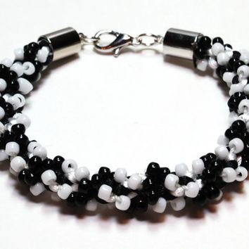 Bracelet Kumihimo Beaded Classic Black & White Bead Jewelry