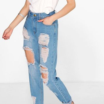 Sophie High Wst Light Wash Distress Mom Jeans