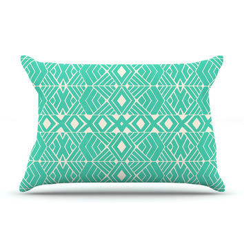 "Pom Graphic Design ""Going Native"" Teal Pillow Case"