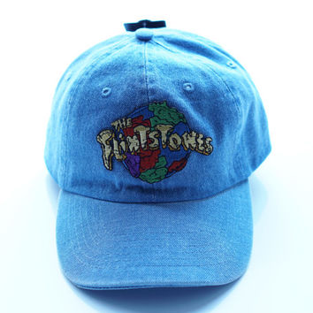 The Flintstones Bedrock Denim Baseball Strapback Dad Hat, 90s Dad Hat, 90s Fashion, Pastel Dad Hat, Cartoon Dad Hat, Vintage Dad Hat