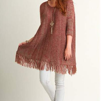Umgee Knit boho oversized Throw On Sweater with Fringe Details