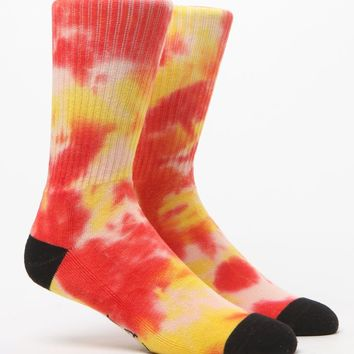 On The Byas Tie Dye Red & Yellow Crew Socks - Mens Socks - Red/Yellow - One
