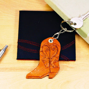 Cowgirl Boot Leather Keychain, Carved Leather Key Fob, Unique Gift For Her, Best Friend Gift For Girlfriend, Anniversary Gift For Wife CBB23