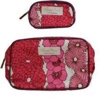 Clinique Fabric Floral Makeup Travel Cosmetic Bag (1 regular +1 mini bags)