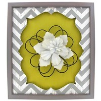 Yellow, White & Gray Chevron Plaque with Flower   Shop Hobby Lobby