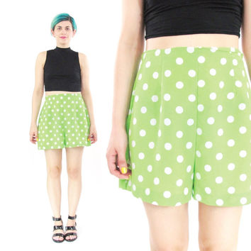 90s High Waist Polka Dot Shorts Lime Green Shorts Bright Green Loose Short High Waisted Summer Shorts Elastic High Waisted Shorts (M)
