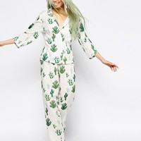 ASOS Cactus Traditional Shirt & Long Leg Pyjama Set