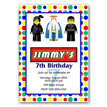 Polka Dot Lego Raibow Colorful Kids Birthday Invitation Party Design