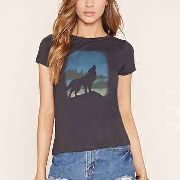 Wolf Graphic Tee | Forever 21 - 2000153391