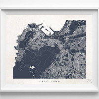 Cape Town, Map, South Africa, Poster, Print, Beautiful, State, Nursery, Art, Decor, Town, Illustration, Room, World, House, Street [NO 592]