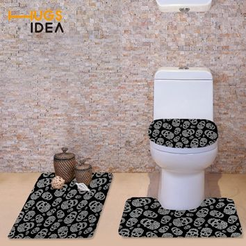 HUGSIDEA Cute Cartoon Skull Toilet Seat Cover 3D Soft WC Cover Home Decor Bathroom Area Rugs Toilet Mats Closestool Merletto