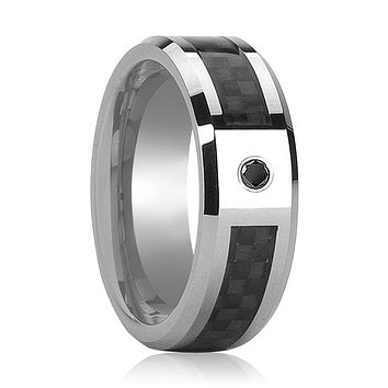 BRAHMA Men's Tungsten Wedding Band with Black Carbon Fiber Inlay and Black Diamond in Center and Bevels - 8MM