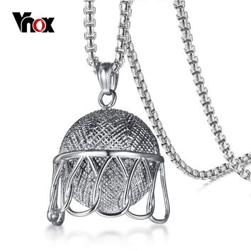 "Vnox Men's Basketball Pendant Necklace Hiphop Silver Color 24"" Long Chain Stainless Steel Male Sporty Necklace Jewelry"