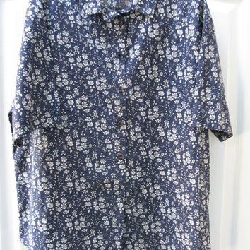 Navy and white flower Liberty blouse - UK size 16 - Navy and white Liberty print - Liberty Shirt - Liberty Fabric - Liberty of London
