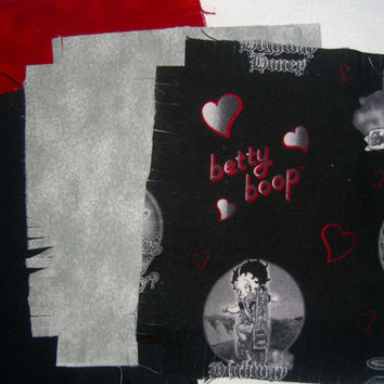 "Betty Boop Flannel fabric rag quilt kit Motorcycle Angel hearts fringed die cut squares batting complete ready to sew 45.5""x58.5 Bonus heart"