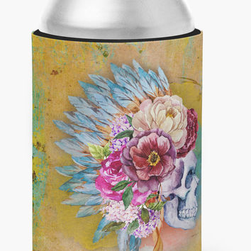 Day of the Dead Flowers Skull  Can or Bottle Hugger BB5129CC