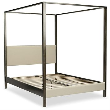 California King size Upholstered Canopy Bed Frame with Wood Slats in Dark Silver Finish