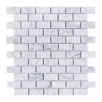 "Bianco Carrara 1 x 2"" Mini Brick Subway Tile Polished Marble Mosaic"
