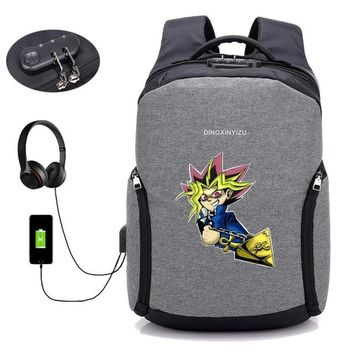 Anime Backpack School kawaii cute Yu Gi Oh backpack multifunction Anti Theft USB charging teenagers Men women's travel Laptop Bags Student School backpack AT_60_4
