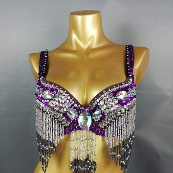 Halloween  dress Hand Beaded Belly Dancing Samba Costume Purple color bra only 1 pcs bra1618 Macchar Cosplay Catalogue