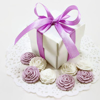 Wedding Candy Favor Boxes AND 125 Sugar Edible Flowers, Bridal Shower Favor, Baby Shower, Wedding Gift Box, Party Favor, DIY Purple Favor