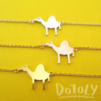Arabian Camel Silhouette Shaped Charm Bracelet in Silver Gold or Rose Gold