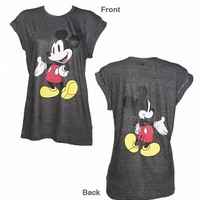 Ladies Dark Grey Marl Mickey Mouse Front And Back Print Disney T-Shirt From Eleven Paris : TruffleShuffle.com