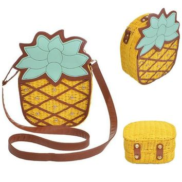 Pineapple Bamboo Wicker & Fabric Clutch Crossbody Handbag