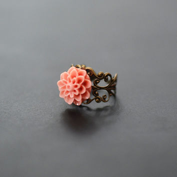 Coral Chrysanthemum Ring with Adjustable Filigree Band