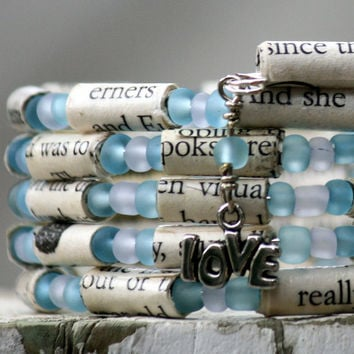 Eat Pray Love Paper Bead Bracelet - Stacking Wrap Bracelet - Memory Wire - Upcycled - Frosted Teal and White