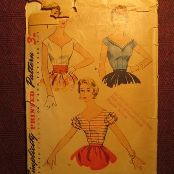 SALE Complete 1950's Simplicity Sewing Pattern, 4719! Size 12 Bust 30 Small/XS/Women's/Misses/Juniors/Shaped Neckline Blouses/Extended Shoul