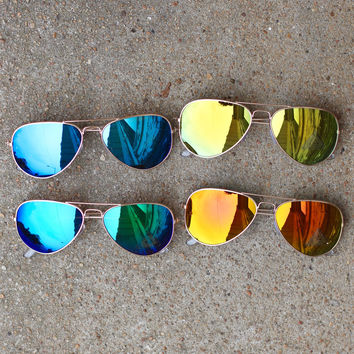 Mirrored Aviators {Color Lens}