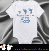 Newborn gift, Newest to the Pack, Personalized baby gift, cute baby, bodysuit, Baby Shower, Funny Baby by BabyApparels.etsy.com