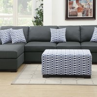 Poundex F7992-90 2 pc barbara collection slate black blended linen fiber fabric upholstered sectional sofa set with reversible chaise