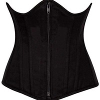 Daisy Corsets Top Drawer Black Cotton Underbust Steel Boned Corset